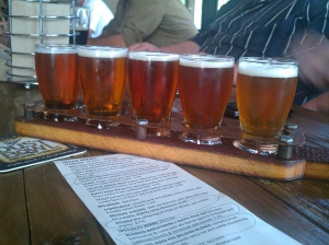 A pretty lineup of beers...
