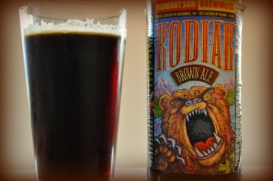 Rich dark-red and brown highlights show off this caramel-y, lightly toasted American Brown Ale.